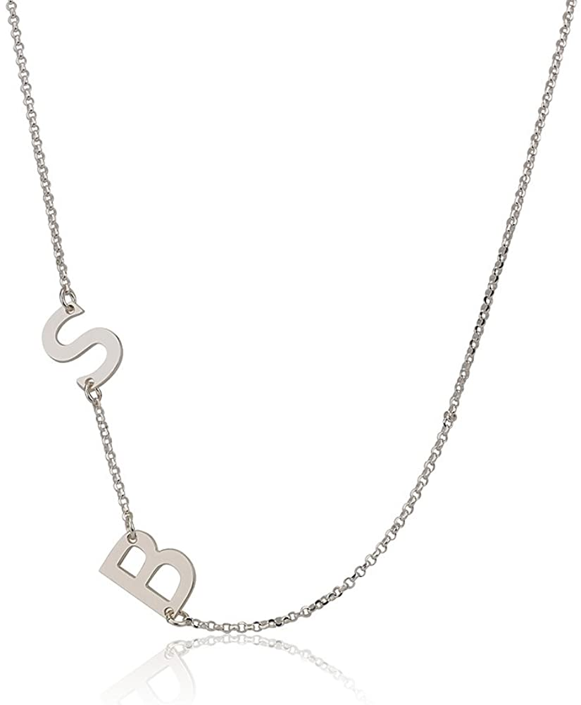 initial necklace silver